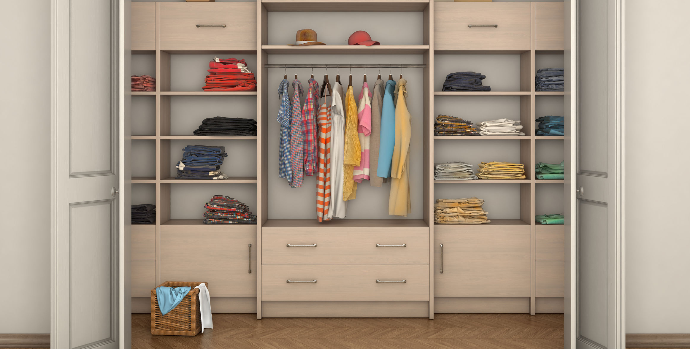 empty room interior and big closet with clothes; 3d illustration
